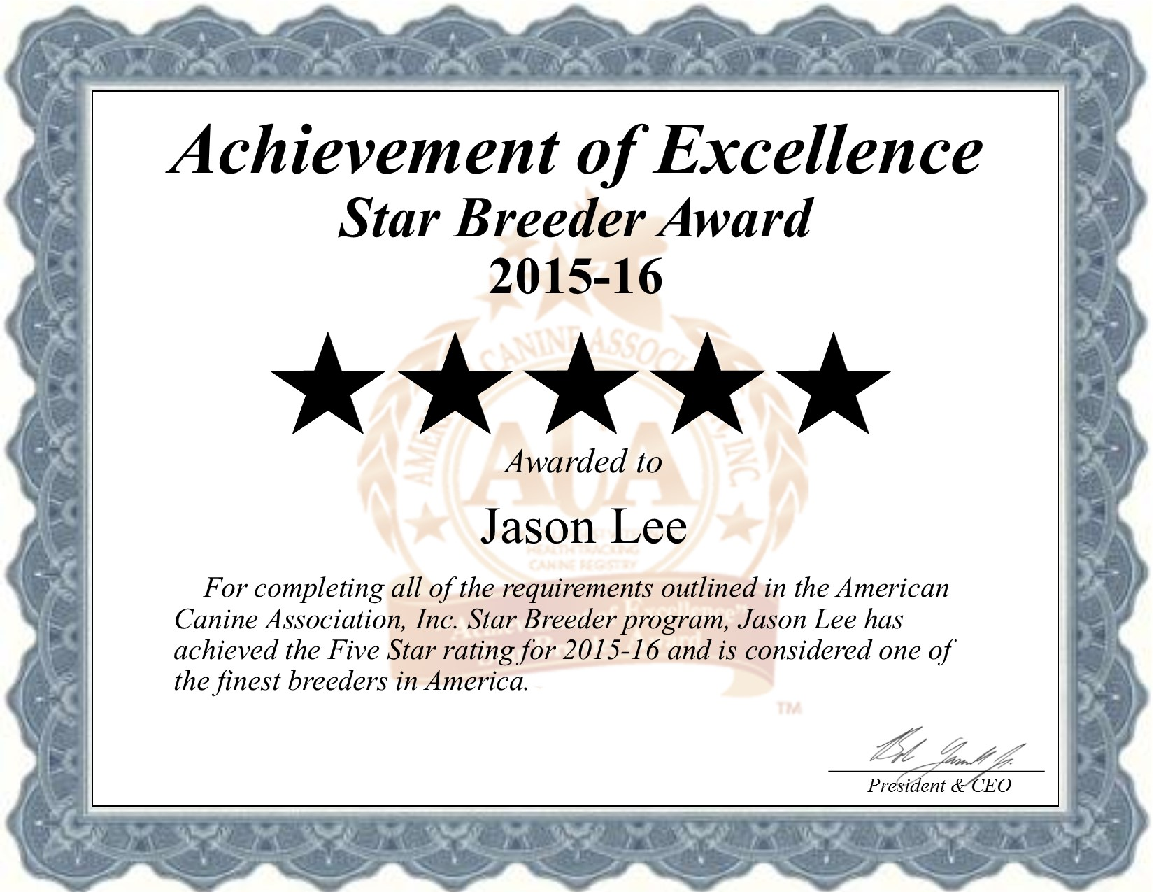 Jason Lee of Randall, MN Star Dog Breeder Certificate